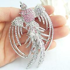 kvinder tilbehør sølv-tone pink rhinestone krystal phoenix broche art deco krystal broche