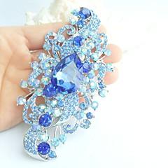 kvinder tilbehør sølv-tone blå rhinestone krystal blomst broche art deco krystal broche bouquet kvinder smykker