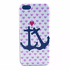 Pink Heart Anchors Pattern Transparent Frosted PC Back Cover For  iPhone 5/5S
