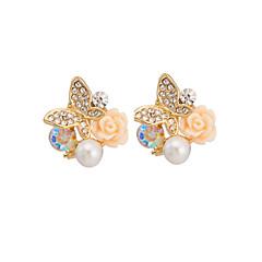 Women's Elegant Rose Butterfly Pearl Stud Earrings