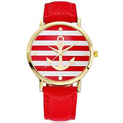 여성의 패션 앵커 금 PU 밴드 석영 다이얼 아날로그 손목 시계 (모듬 색상)를 상승