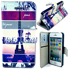 Tower and Setting Sun Pattern with Card Bag Full Body Case for iPhone 4/4S