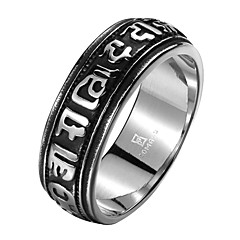 Religious Text Exaggerated Personality Rock Titanium Steel Stainless Steel Men's Ring