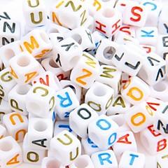 Lot 200 Plastic Alphabet Letter Cube Loose Beads 0.24