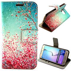 frumos model piersic floare cu caz sac cardul corp plin pentru Samsung Galaxy s6 g9200