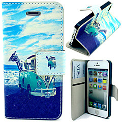 Bus and Giraffe Pattern with Card Bag Full Body Case for iPhone 4/4S
