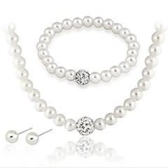 Lady's Pearl Necklace Set  With Rhinestone
