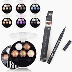 1 adet su geçirmez sıvı eyeliner kalem&1pcs parlak stereo 5 renk ubub kızartma göz farı toz metalik ışıltı