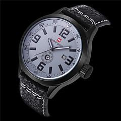Mode für Männer Leder-Quarz-Sport Militär Uhren wasserdicht Datumsfunktion (verschiedene Farben)