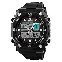Herr Armbandsur Japansk kvartsur LCD / Kalender / Kronograf / Vattenavvisande / Dubbel tidszon / alarm / Sportsklocka Gummi Band Svart