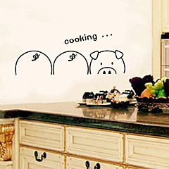 Cartoon Three Pigs Cooking PVC Wall Sticker Wall Decals