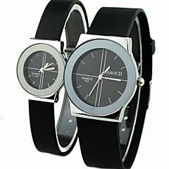 Heren Dames Voor Stel Sporthorloge Dress horloge Kwarts Rubber Band Zwart Merk