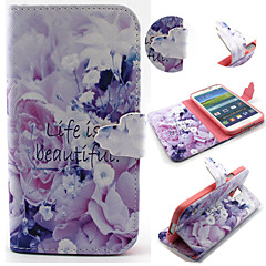 Purple Flower Pattern with Card Bag Full Body Case for Samsung Galaxy S3/S4 Mini/ S5