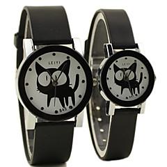 paar eenvoudige geval rubberen band quartz horloge