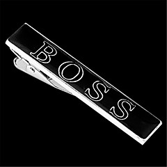 Men's Famous Brand Black Silver Wedding Suit Shirt Tie Bar Clip Clasp