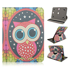 Big-eyed Owl Pattern 360 Degree Rotation High Quality PU Leather with Stand Case for 10 Inch Universal Tablet