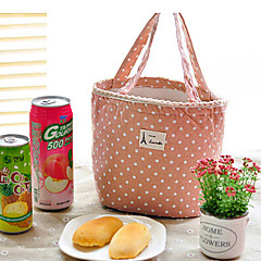 Polka Dot Canvas Thermal Insulated Lunch Box Tote Cooler Bag Picnic Pouch (Random Color)