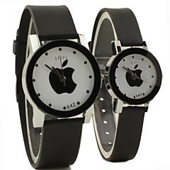 stile causale quadrante mela rotondo in caucciù nero orologio da polso del quarzo della fascia di coppia