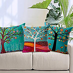 Set of 3 Colorful Floral Tree Cotton/Linen Decorative Pillow Cover