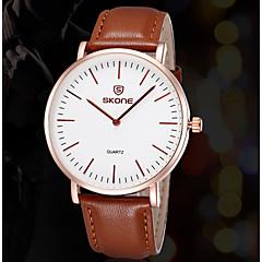 skone® Leder Uhren Herren Luxusmarke Japan-Quarz Movt wasserdichte Art und Weise beiläufiges Armbanduhr (farbig sortiert)
