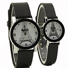 stile causale eiffel tondo quadrante torre di gomma nera orologio da polso del quarzo della fascia di coppia