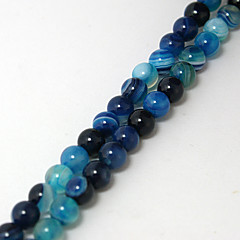 Beadia 39Cm/Str (Approx 62PCS) Natural Agate Beads 6mm Round Dyed Blue Color Stone Loose Beads DIY Accessories
