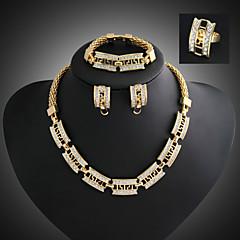 Lucky Doll Women's Vintage 18K Gold Plated Zirconia Geometric Necklace & Earrings & Bracelet & Ring Jewelry Sets