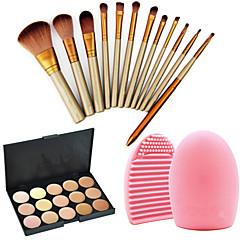 Profesjonalne pędzle do makijażu 12pcs kosmetyczne ustawić korektor palety + 15colors + 1szt narzędzie do czyszczenia szczotki