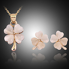 Lucky Doll Women's All Matching Crystal Rose Gold Plated Zirconia Clover Necklace & Earrings Jewelry Sets