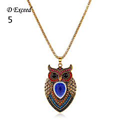D  Exceed Gold Plated Colorful Peasonlity Vintage Style Acrylic Owl Pendant Necklace for Lady Jewelry 1Piece