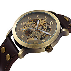 SHENHUA® Men's Vintage Skeleton Bronzen Dial Leather Band Automatic Self Wind Wrist Watch Cool Watch Unique Watch Fashion Watch