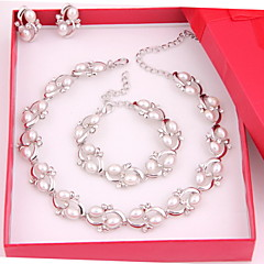 Trendy Moon Style Women Costume Party Sliver Plated Imitation Pearl Jewelry Sets