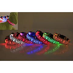Psy Obroże Wodoszczelność / Lampy LED / Zebra Red / Biały / Zielony / Niebieski / Różowy / Żółty / Pomarańczowy Nylon
