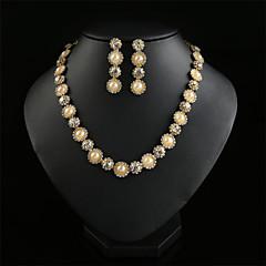 XIXI  Women Latest Fashion Alloy Rhinestone Imitation Pearl Necklace/Earrings Sets
