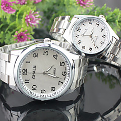 Couple's Simple Fashion Round dial Alloy Band Quartz waterproof Wrist Watch