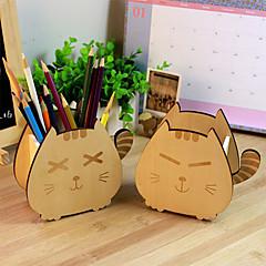 kreativa trä karikatyr lycklig katt pennhållare söta tillbehörslådan (slumpvis färg)