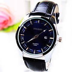 Men's New Simplicity Business Round Dial PC Movement Leather Strap Fashion Calendar Life Waterproof Quartz Watch