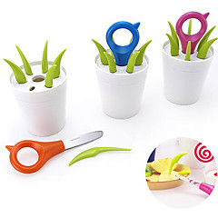 Set of 7 Designed Flower Pot Shaped Fruit Picks Knife Forks Set Kitchen Utensils (Random Color)