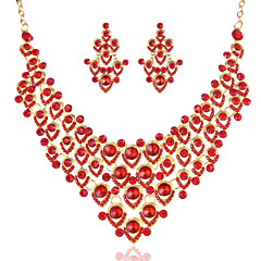 2015 China Style Newest Bride Jewelry Set Red Crystal Necklace and Earrings
