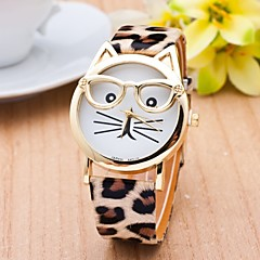 Cat Watch With Glasses Women Quartz Watches Reloj Mujer Relogio Feminino Leather Strap Watch Cool Watches Unique Watches