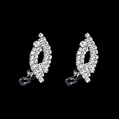 European And American Fashion Eye Type Full Diamond Earrings Fake Clip Earrings Wedding/Party/Daily/Casual 2pcs