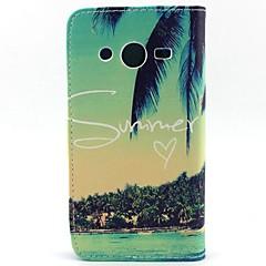 Varten Samsung Galaxy kotelo Lomapkko / Korttikotelo / Tuella / Flip Etui Kokonaan peittävä Etui Puu Tekonahka SamsungCore Prime / Core