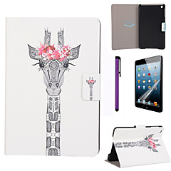 Flower Giraffe Pattern PU Leather Case with Screen Protector and Stylus for iPad mini 1/2/3