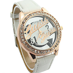 Women's Diamante Round Hollow Engraving Dial PU Band Quartz Analog Dress Watch