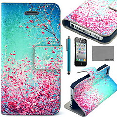 COCO FUN® Sky Red Floral Pattern PU Leather Case with Screen Protector and USB Cable and Stylus for iPhone 4/4S