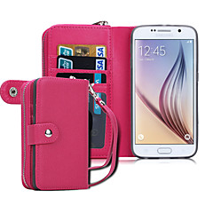 DE JI PU Leather Zipper Handbag Wallet Purse with Card Slot Phone Case Cover for Samsung S6/S6 Edge(Assorted Colors)