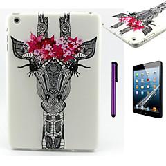 Flower Giraffe Pattern TPU Soft Back Cover Case for iPad Mini 3/iPad Mini 2/iPad Mini
