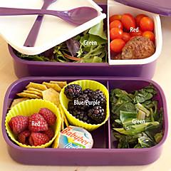 12:00 reloj de 2 capas de contenedores almuerzo bento cuadro 1.4l microondas plástico comida del horno (color al azar)