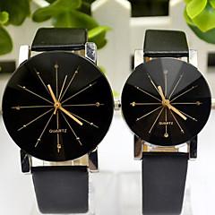 Paar Modeuhr Quartz PU Band Armbanduhr Schwarz