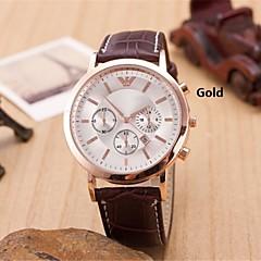 män mode diamant tre ögon kvarts analoga läderarmband klocka (blandade färger)